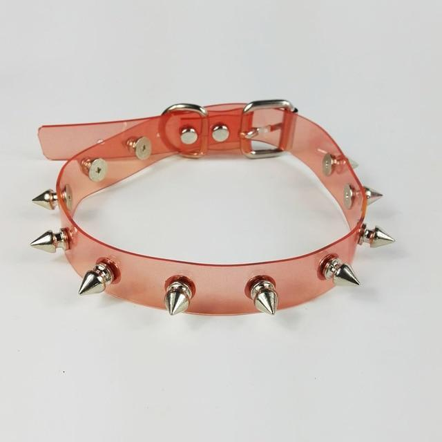 Vinyl Spiked Choker accessories Red