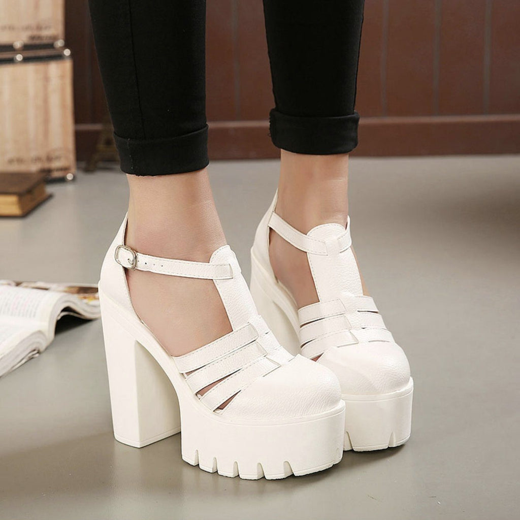 X-tra Tall Closed Toe Platform Sandals shoes white 4.5