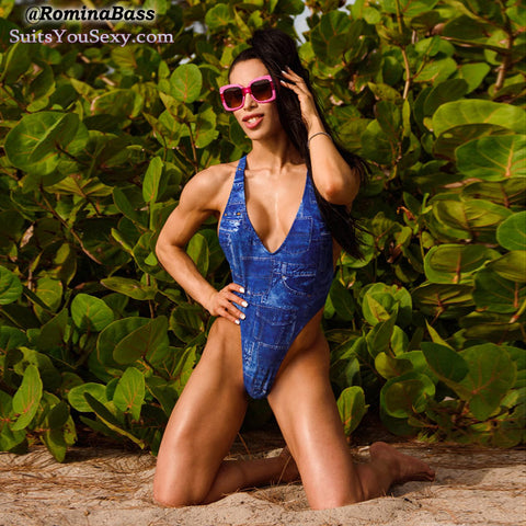 Romina Bass, racerback 0ne-piece swimsuit