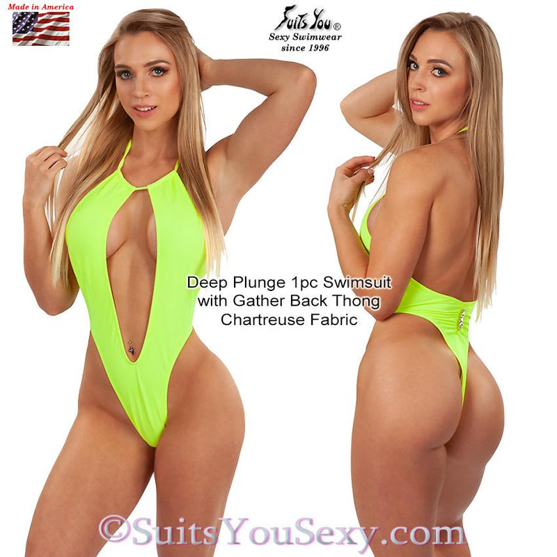 One Piece Swimsuit with Deep Plunge Front and Thong Back, chartreuse fabric