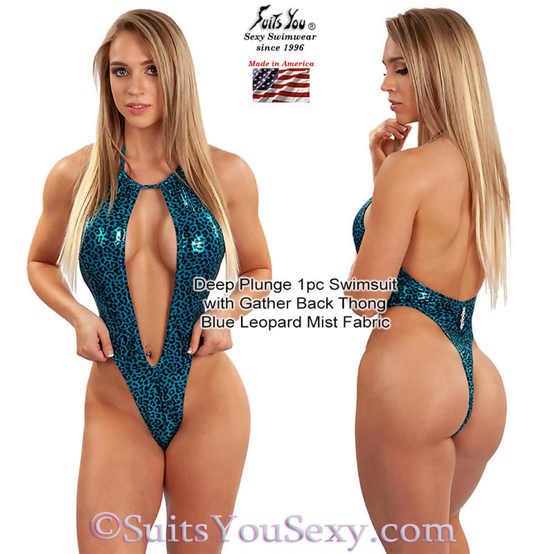 One Piece Swimsuit with Deep Plunge Front and Thong Back, blue leopard