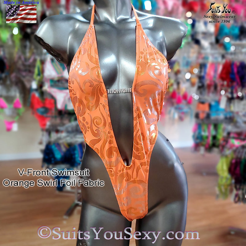 One Piece Swimsuit with V-Front and Half Back, orange swirl