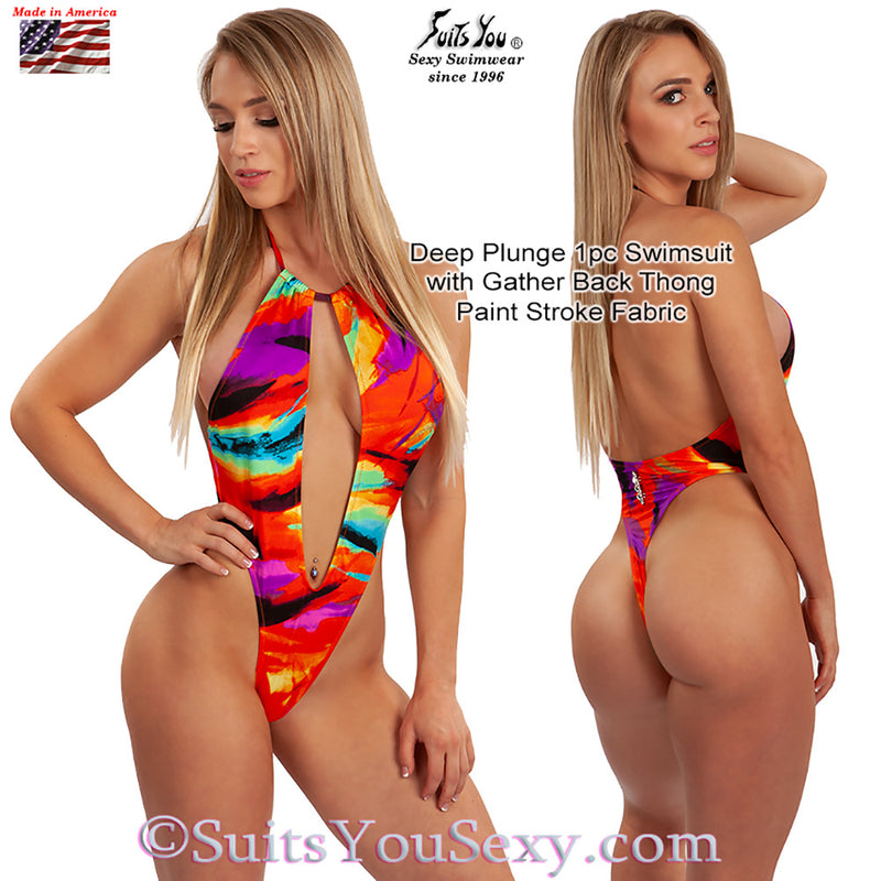 One Piece Swimsuit with Deep Plunge Front and Thong Back, neon paint strokes