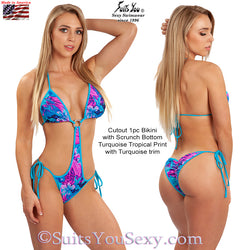 1 Piece Bikini, Cutout with scrunch bottom, tropical print