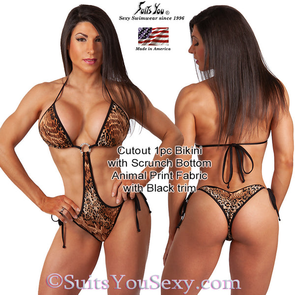 1 Piece Bikini, Cutout with scrunch bottom, animal print
