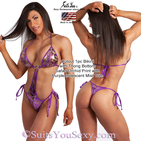 1 Piece Bikini, Cutout with thong bottom, purple print fabric