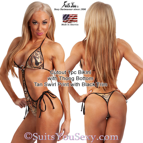 1 Piece Bikini, Cutout with thong bottom, tan swirl fabric