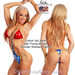 1 Piece Bikini, Cutout with thong bottom, wonder woman theme