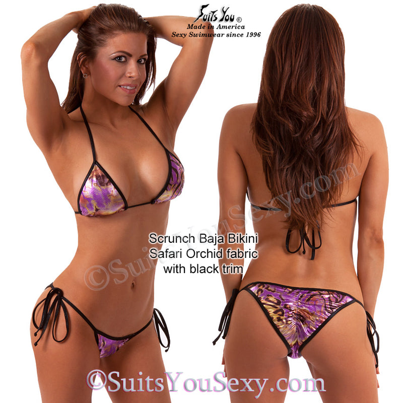 Scrunch Baja Swimsuit, Print Holo tie-side