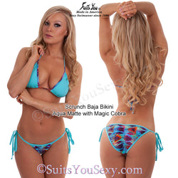 Baja Swimsuits, Solid and Print Fabric Combo