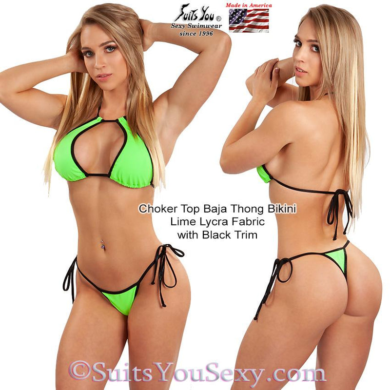 Baja Thong Bikini with tie-side bottom, lime with black