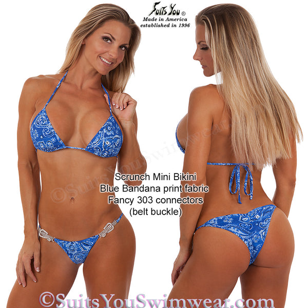 Blue Bandana Bikini with belt buckle connectors