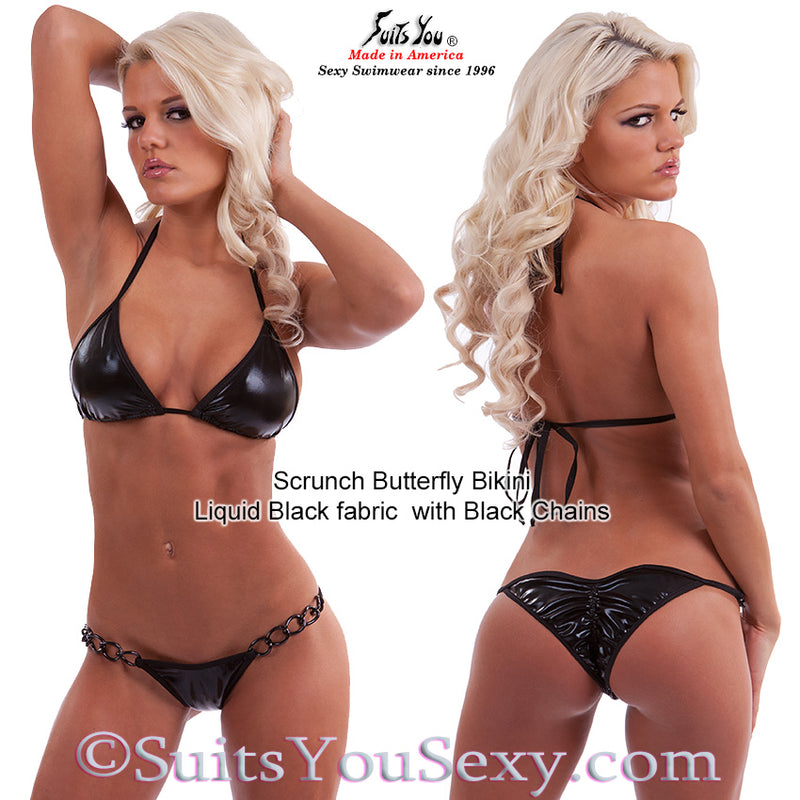 Blackout Bikini, Scrunch Butterfly with Black Chains