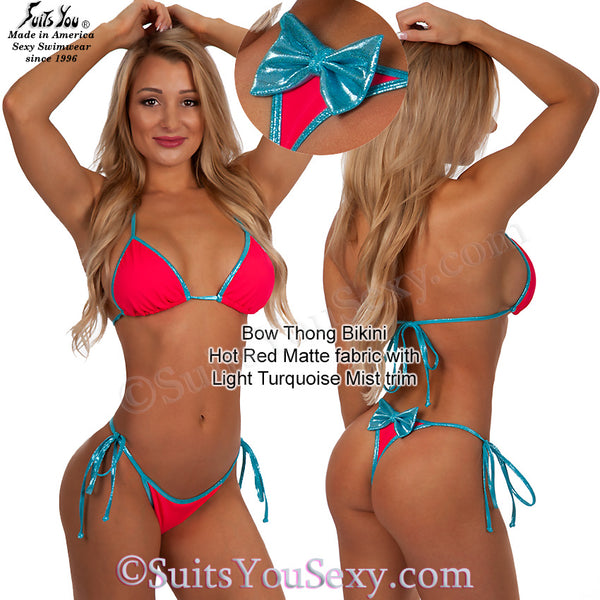 Bow back thong bikini, red with turquoise