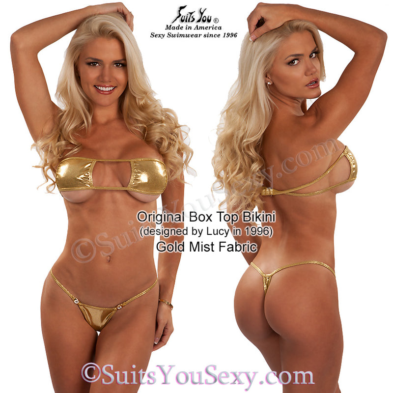 The original box top bikini, gold fabric.