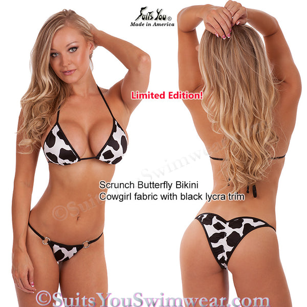 Cowgirl Theme Bikini, black and white print