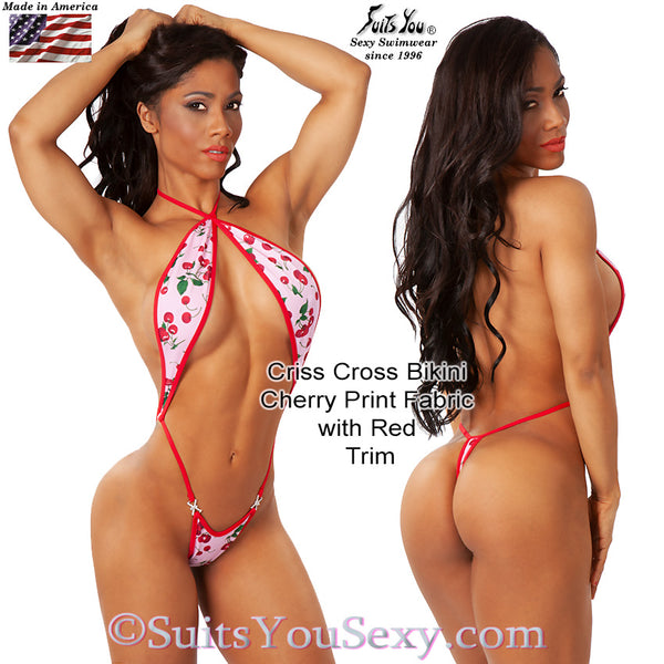 Criss Cross Bikini made in a Cute Cherry Print Fabric