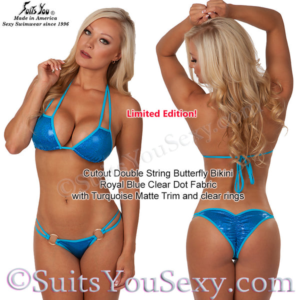 Cutout Double String Bikini, blue with turquoise