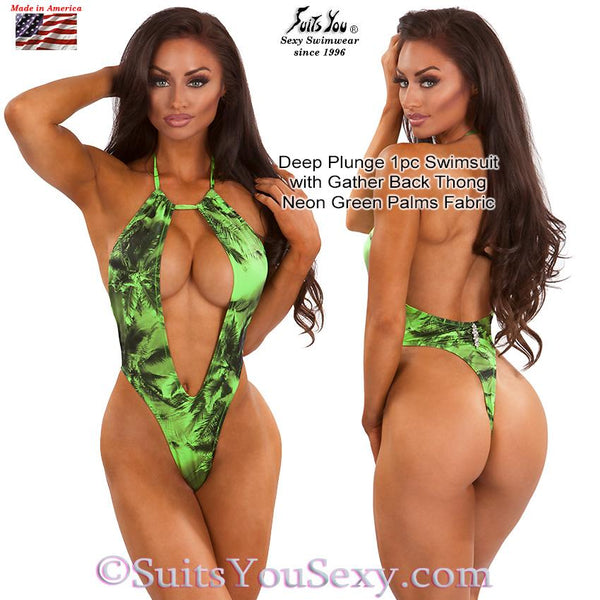 One Piece Swimsuit with Deep Plunge Front and Thong Back, green