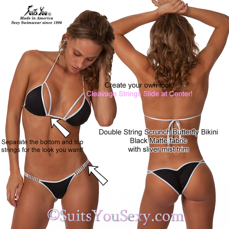 Double Strap Bikini with connectors, black with silver