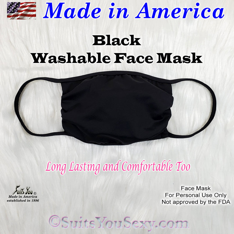 Washable Face Mask, made in the USA, Black Fabric