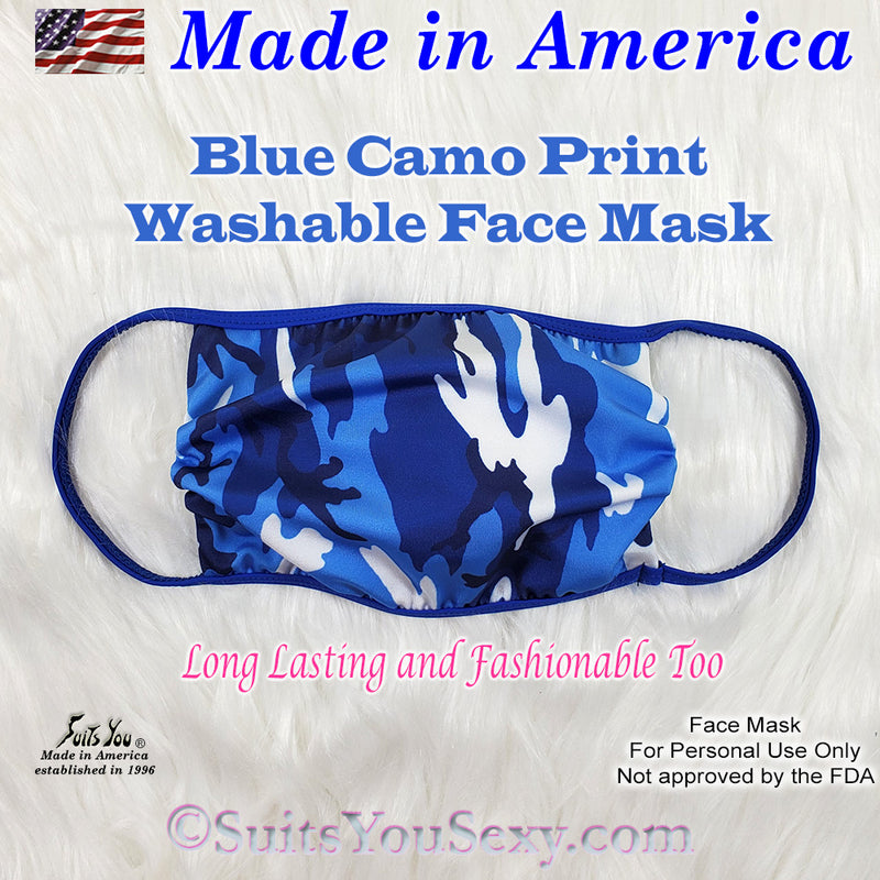Blue Camo Face Mask, made in the USA