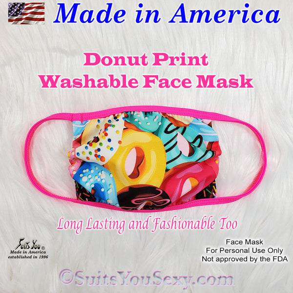 Donut Print Face Mask, made in the USA