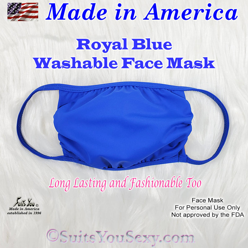 Washable Face Mask, made in the USA, Royal Blue