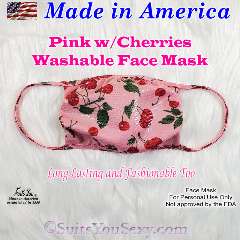 Washable Face Mask, pink with cherries, USA