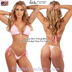 Fuzzy Thong Bikini, Unique Pink Faux Fur Fabric