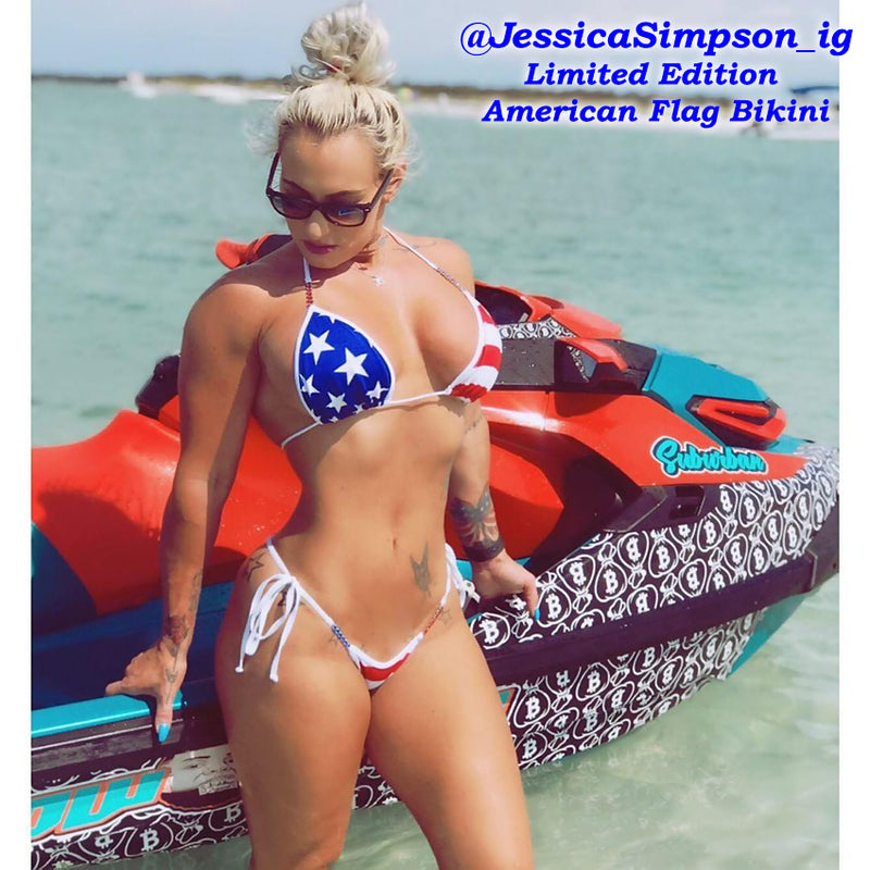 American Flag Bikini, model Jessica Simpson