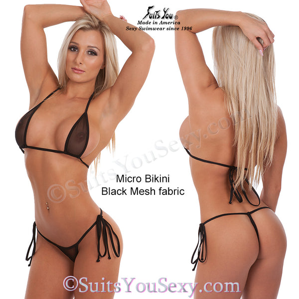 Mesh Micro Bikini, see through black mesh