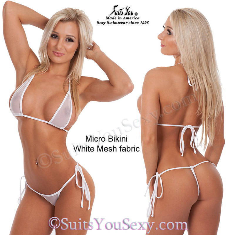 Mesh Micro Bikini, white sheer fabric