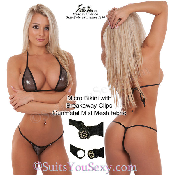 Sheer micro bikini, gun metal mesh hologram fabric