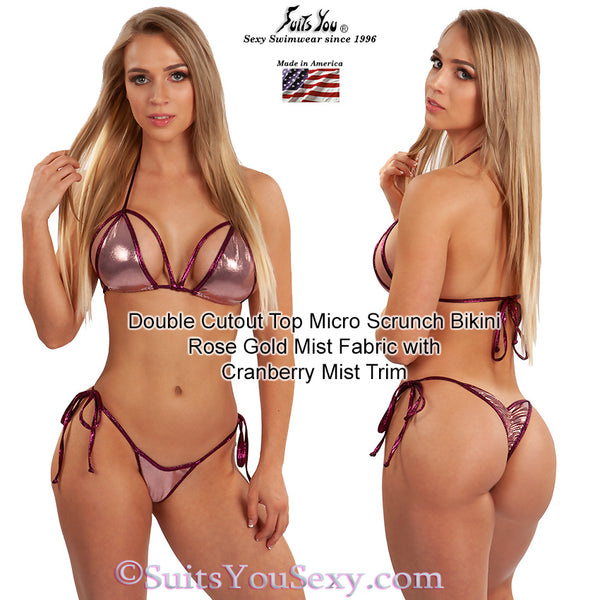 Micro Scrunch Bikini with Cleavage and Side Boob Top, rose gold