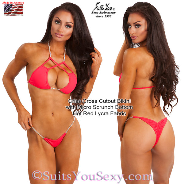 Criss Cross Cutout Bikini with tiny scrunch bottom, hot red fabric