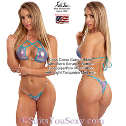 Criss Cross Cutout Bikini with tiny scrunch bottom