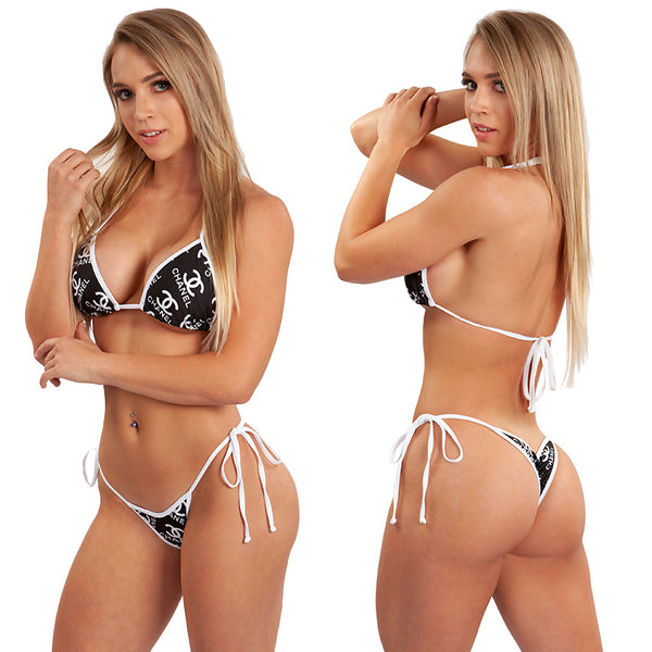Micro Scrunch Bikini. Limited Edition Fabric, black with white.