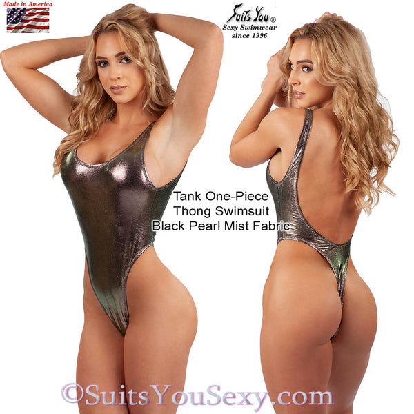 Tank One-Piece Thong Swimsuit, black pearl mist fabric