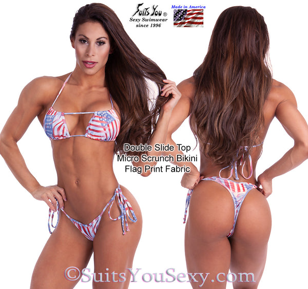 Patriotic Double Slide Top Micro Scrunch Swimsuit.