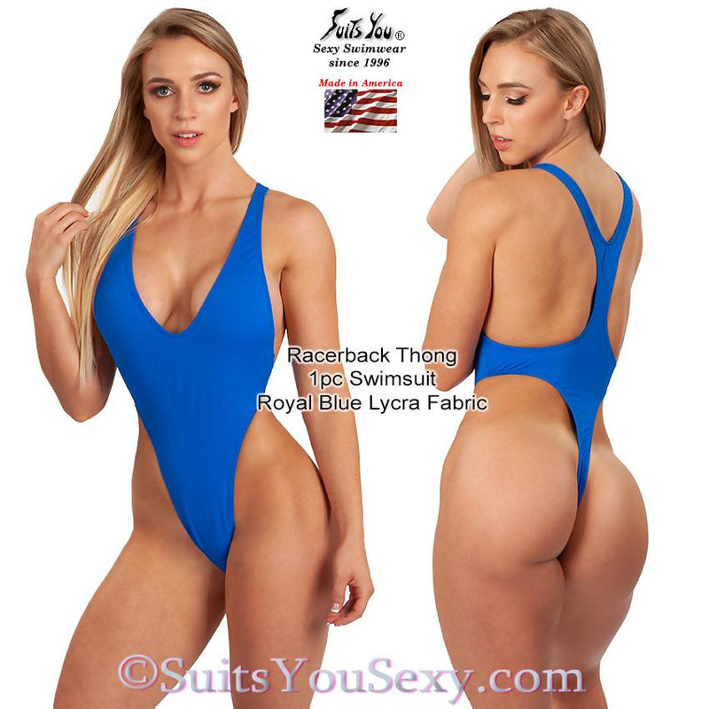 Racerback 1 Piece Thong Swimsuit, royal blue