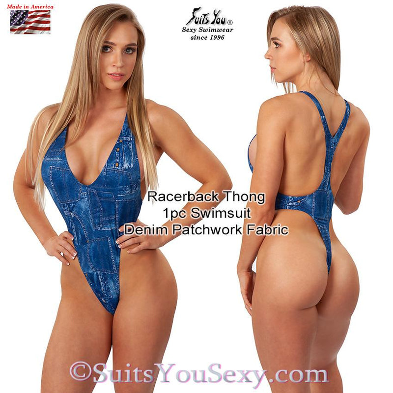 Racerback 1 Piece Thong Swimsuit, denim patchwork fabric