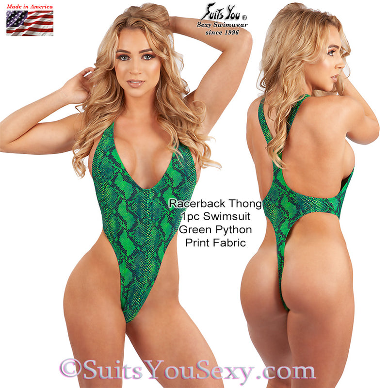 Racerback 1 Piece Thong Swimsuit, green python print