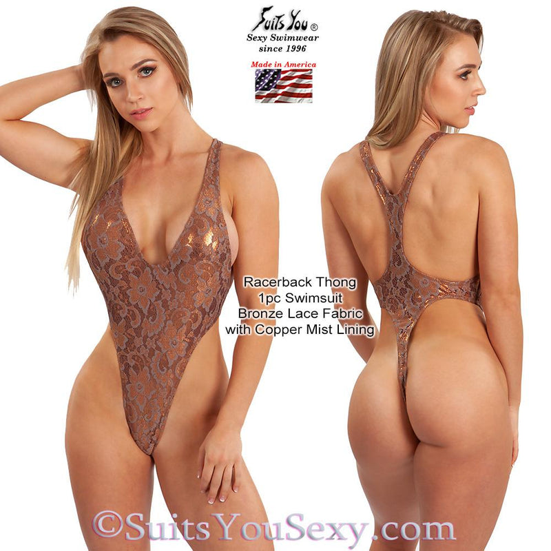 Lace Racerback Thong One-Piece Swimsuit, bronze lace with copper lining
