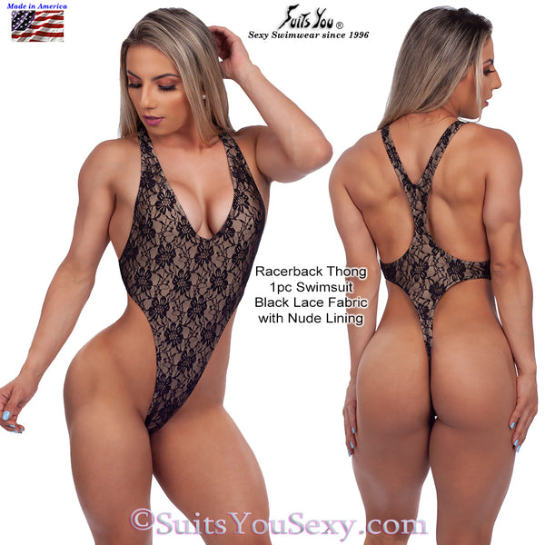 Racerback 1 Piece Thong Swimsuit, black lace fabric