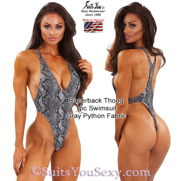 Racerback 1 Piece Thong Swimsuit, gray python fabric