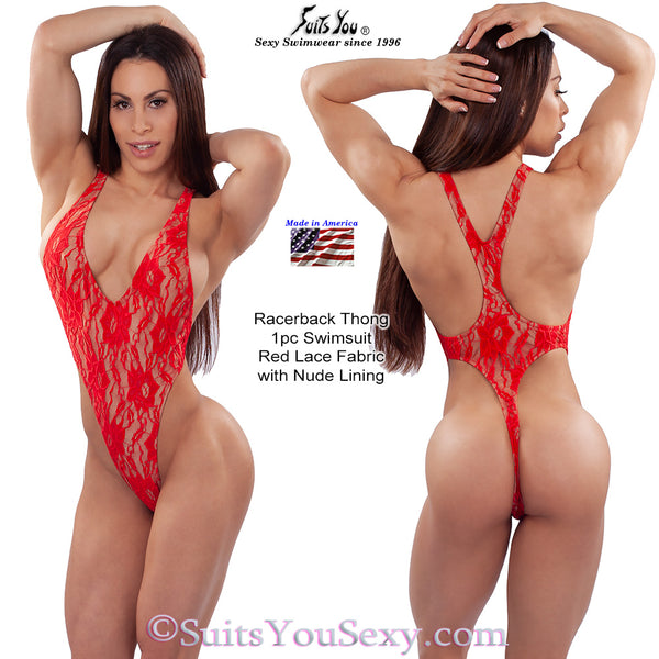 Red Lace One-Piece Swimsuit