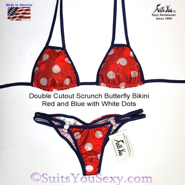 Patriotic Polka Dot Bikini with Cutout Top, red
