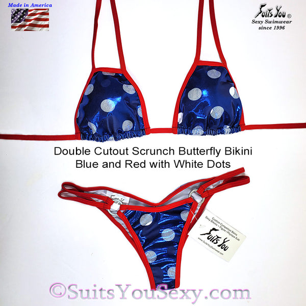 Patriotic Polka Dot Bikini with Cutout Top, blue