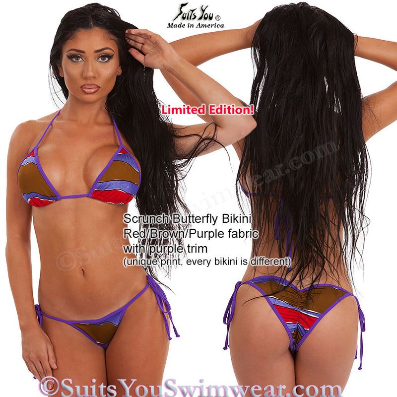Scrunch Butterfly Bikini, Red Brown Purple Combo
